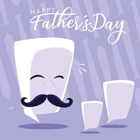 happy father day card with gentleman face and speech bubbles vector illustration design Иллюстрация