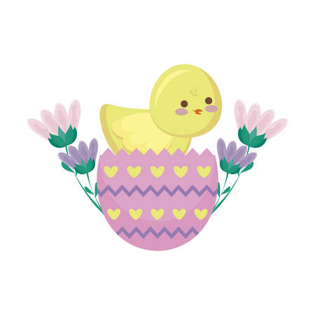 cute chicken of easter in egg with flowers vector illustration design Ilustração