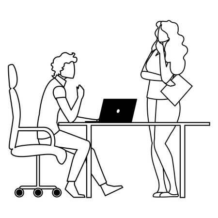 business couple with laptop in the office vector illustration design Illusztráció