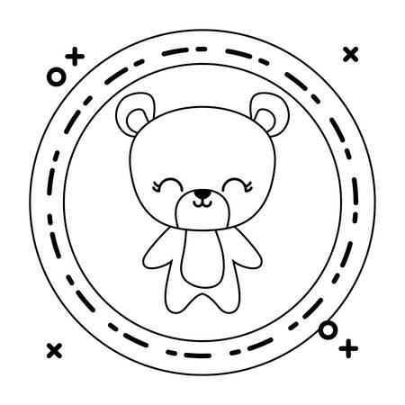 cute bear animal with frame circular vector illustration design