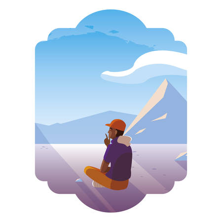afro man contemplating horizon in snowscape scene vector illustration design Ilustração