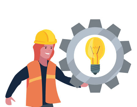 construction worker female gear bulb vector illustration design