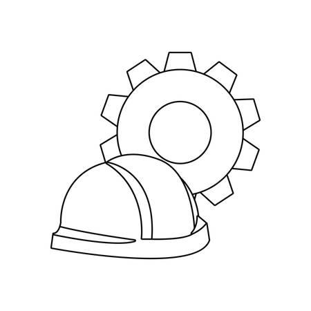 helmet and gear tool wall brick vector illustration design