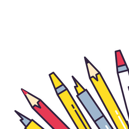 highlighters colors with pencils and pens vector illustration design  イラスト・ベクター素材