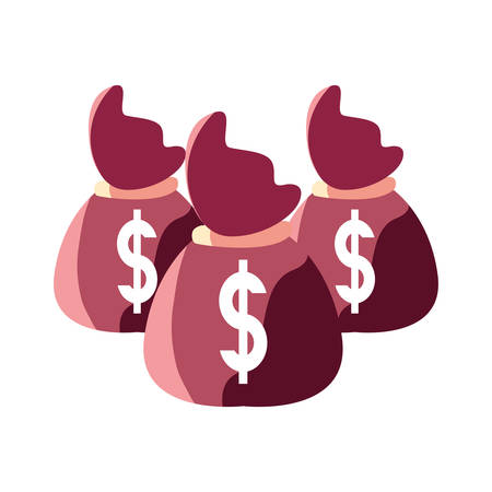 money bags bank on white background vector illustration