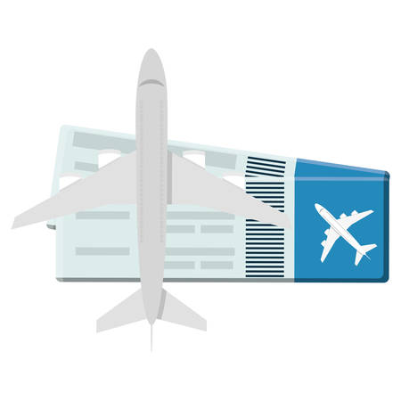 airplane with tickets flight vector illustration design