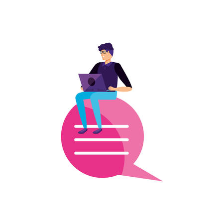young man using laptop in speech bubble vector illustration design