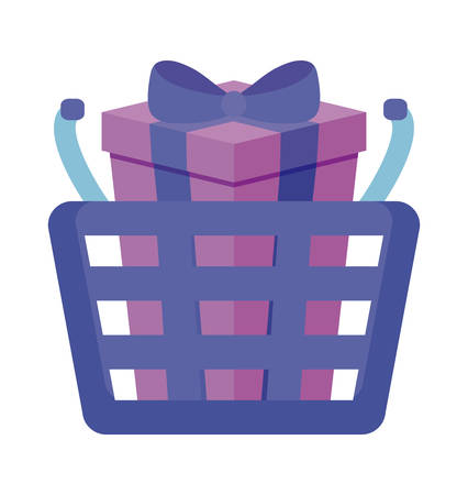shopping basket with gift box isolated icon vector illustration design Foto de archivo - 130155581