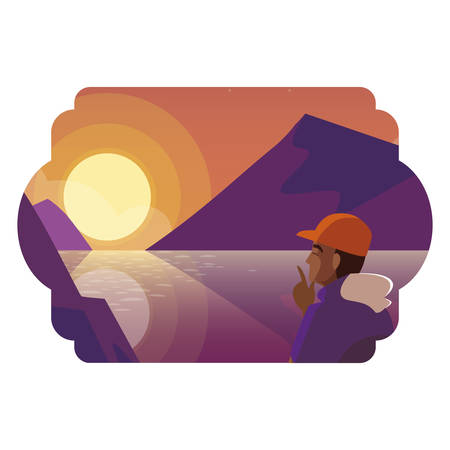 afro man contemplating horizon in lake and mountains scene vector illustration