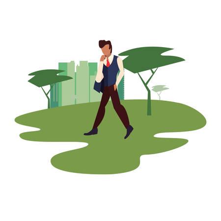 man walking in the park city vector illustration Illustration