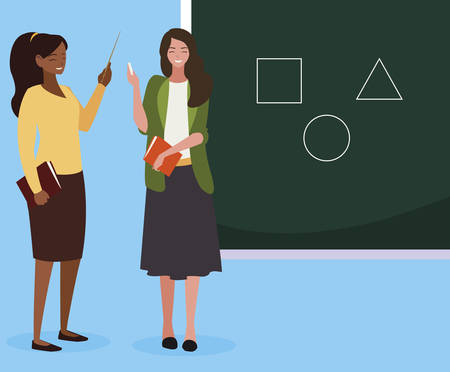 interracial female teachers couple with textbooks and chalkboard vector illustration Иллюстрация