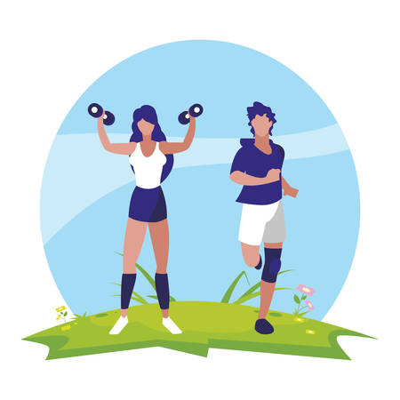 athletic man running and woman weight lifting in the camp vector illustration design Ilustracja