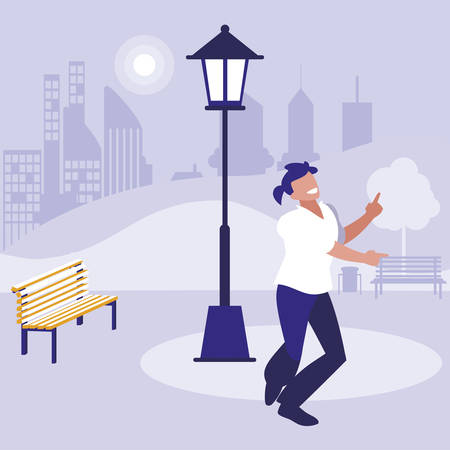 young dancer disco style in the park vector illustration design Иллюстрация