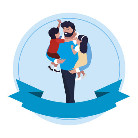father with son and daughter characters in frame vector illustration design Иллюстрация