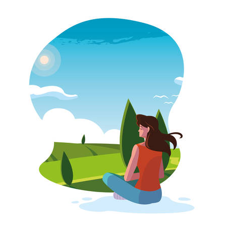 woman seated observing landscape nature vector illustration design 일러스트