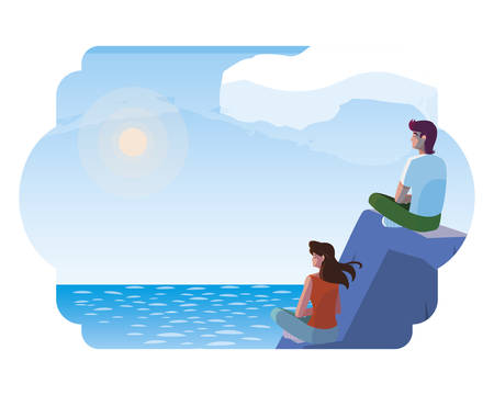couple contemplating horizon in lake and mountains scene vector illustration design