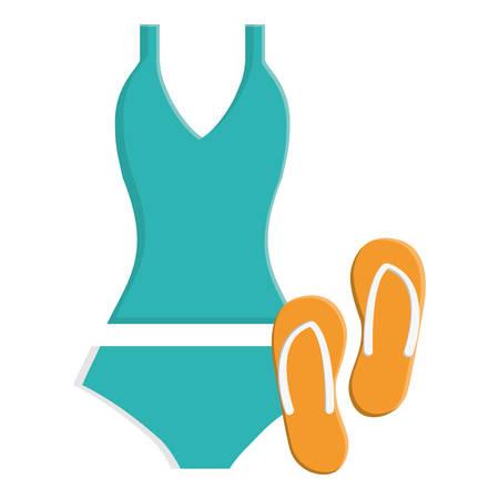 female swimsuit with flip flops vector illustration design Illustration