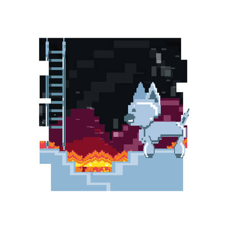 video game pixelated robotic dog in stairs vector illustration design