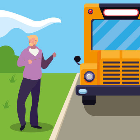 teacher male in stop bus vector illustration design