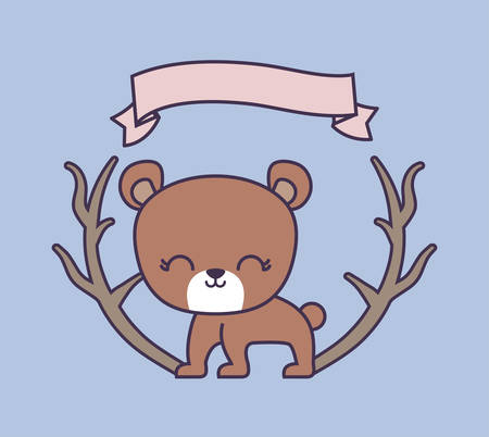 cute bear animal with ribbon and branches vector illustration design Иллюстрация