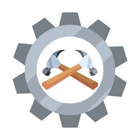 hammers gear construction tool vector illustration design