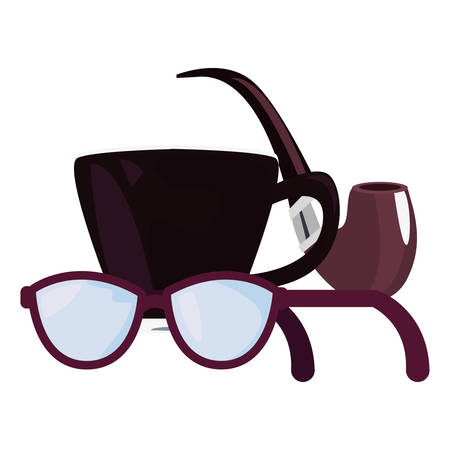 coffee cup pipe eyeglasses happy fathers day vector illustration Ilustração