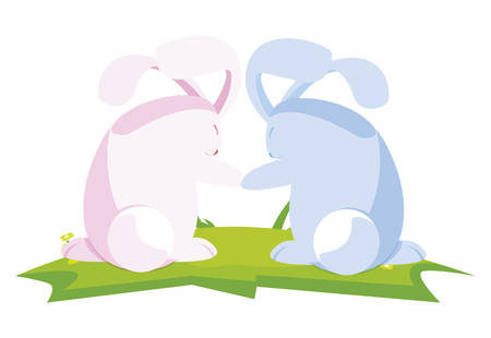 cute rabbits easter characters in the camp vector illustration design