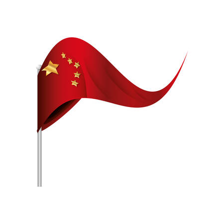 flag of china in stick isolated icon vector illustration design