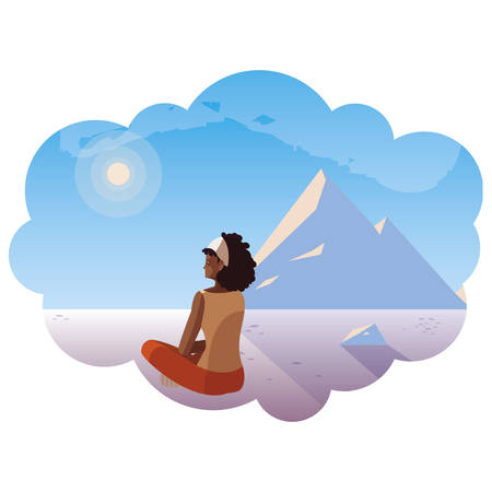 afro woman contemplating horizon in snowscape scene vector illustration design Ilustração