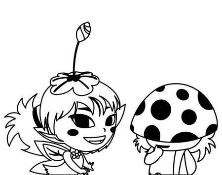 beautiful magic fairy and fungu elf characters vector illustration design  イラスト・ベクター素材