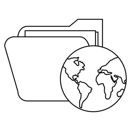 world folder cybersecurity data protection vector illustration outline