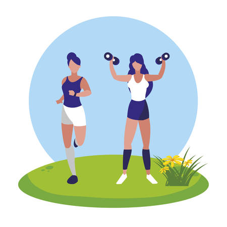 athletic women running and weight lifting in the camp vector illustration design Ilustracja
