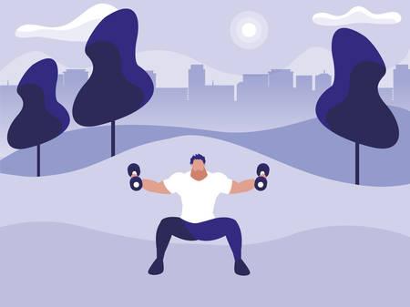 athletic man weight lifting in the park vector illustration design Ilustração