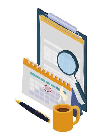 checklist clipboard with office icons vector illustration design Illusztráció