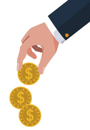 businessman hand with coins money vector illustration design 스톡 콘텐츠 - 130155804