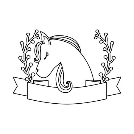 head of cute unicorn with ribbon and branches of leafs vector illustration design