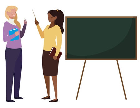 interracial female teachers couple with textbooks and chalkboard vector illustration  イラスト・ベクター素材