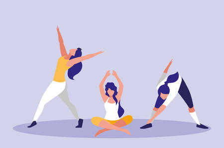 young women performing exercise icon vector illustration design