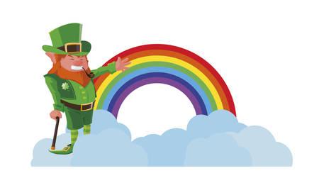 saint patrick lemprechaun with cane and rainbow vector illustration design