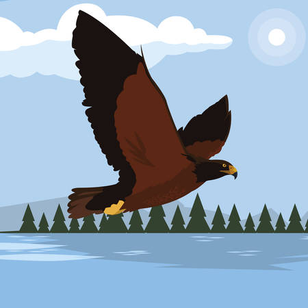 beautiful eagle in the lake majestic bird vector illustration design Stock Illustratie