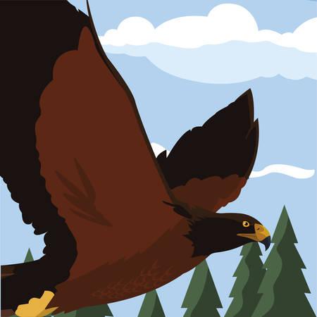 beautiful eagle flying in the landscape majestic bird vector illustration design Иллюстрация