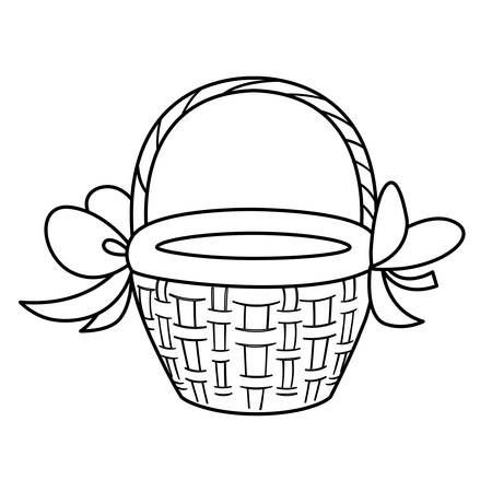 cute basket straw with bow ribbon vector illustration design