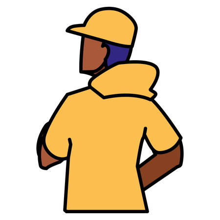 adventurous black man with cap avatar character vector illustration design