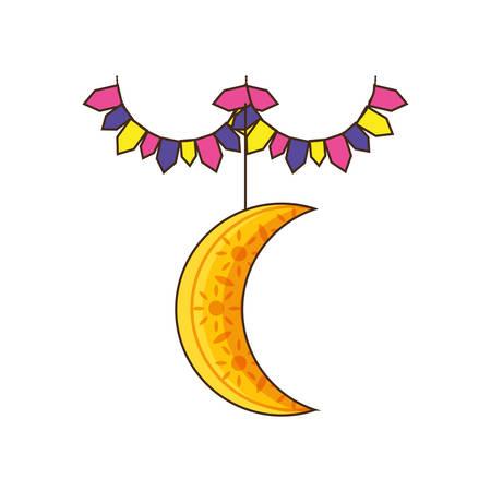 ramadan kareem moon crescent with garlands vector illustration design