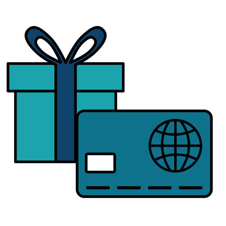 credit card money with gift box vector illustration design