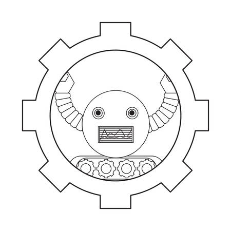 gear with cartoon robot icon over white background black and white design vector illustration