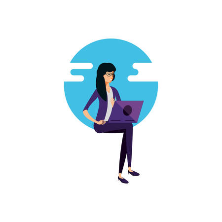 young woman using laptop computer vector illustration design Иллюстрация