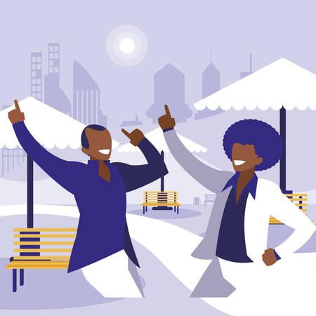 black dancers couple in the park vector illustration design