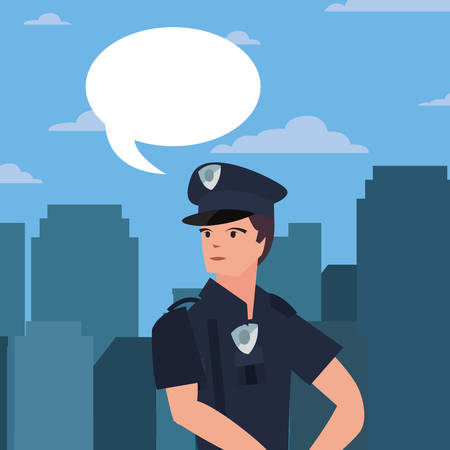 female policeman speech bubble city street building urban vector illustration  イラスト・ベクター素材