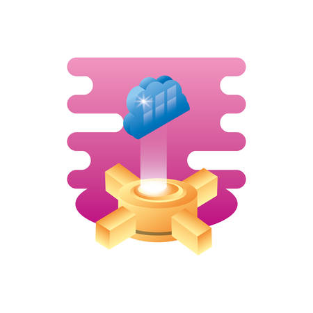 hosting data server with cloud computing vector illustration design Иллюстрация